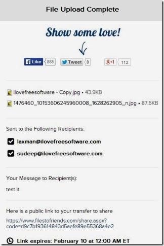 Filestofriends - email sent message
