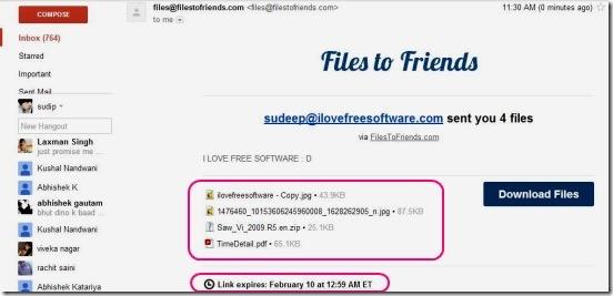 Filestofriends - recieved email