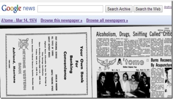 Google Newspaper Archive showing  edition of a particular date