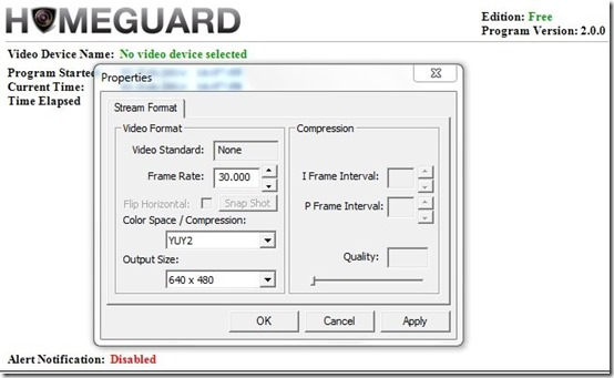 HomeGuard free-motion detection software-properties