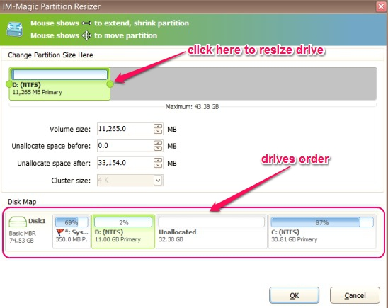 IM-Magic Partition Resizer - resize and move drive