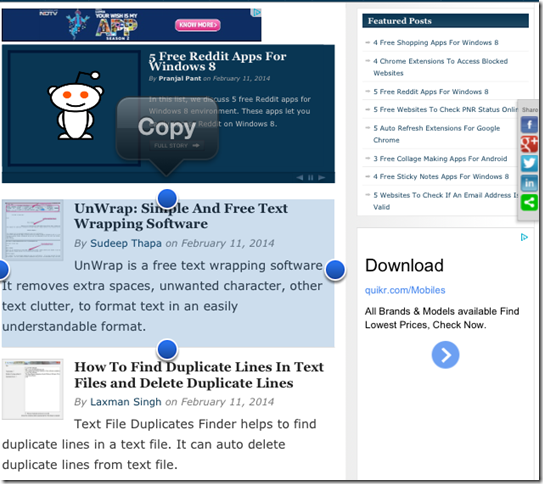Copying In This Browser For iPhone