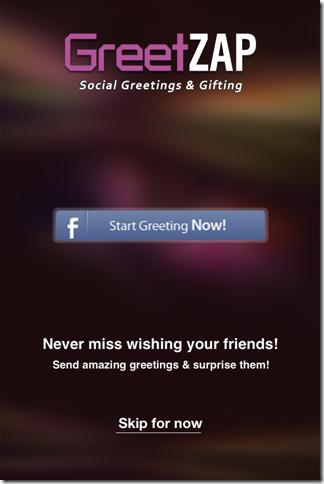 GreetZAP Greetings Home Screen