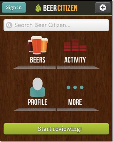 Beer Citizen Home Screen