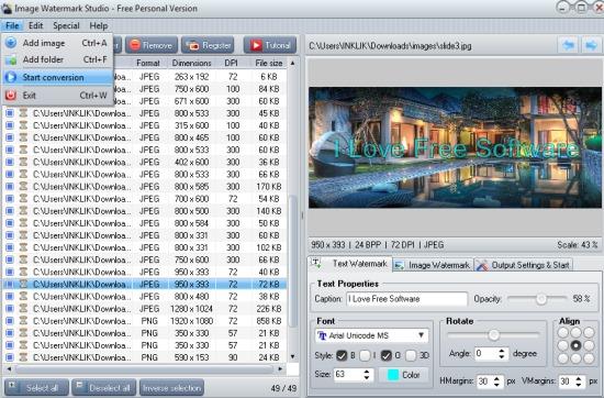 Image Watermark Studio- interface
