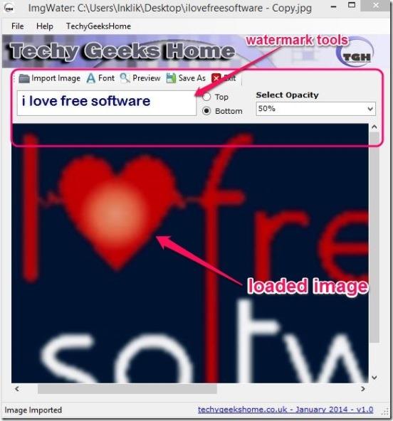 ImgWater - interface