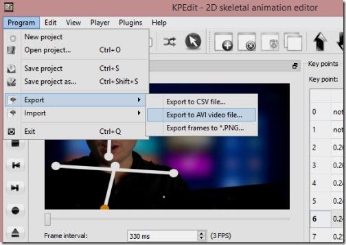 KPEdit.jpg - exporting animation