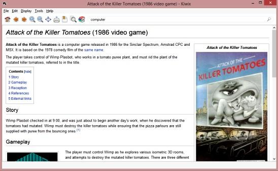 Kiwix - reading wikipedia page offline
