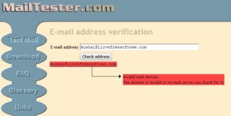 MailTester-check if an email address is valid-home page