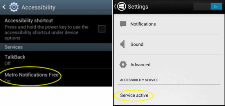 Metro Notification Accessibility And Settings