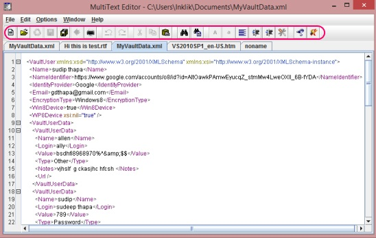 MultiText Editor - tool bar and interface