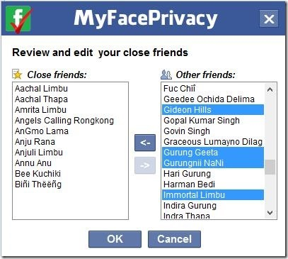 MyFacePrivacy - adding friends to My close friends list