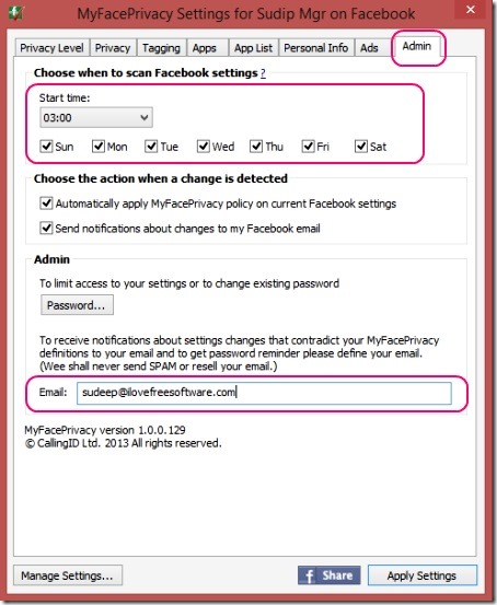 MyFacePrivacy - setting auto scan on and providing email address