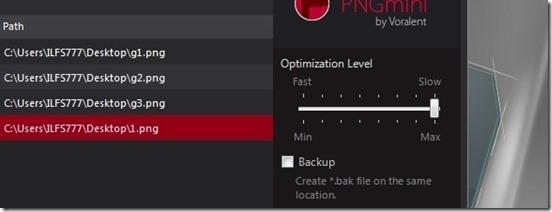 PNGmini optimizaton level