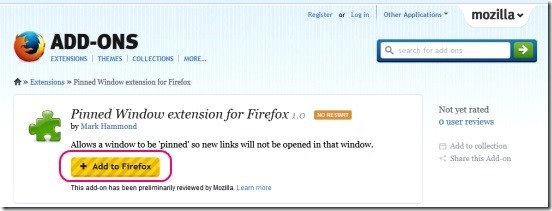 Pinned Window - extension