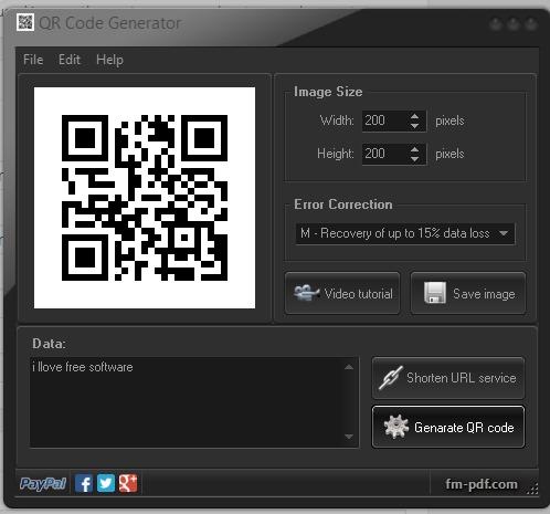 QR Code Generator- interface