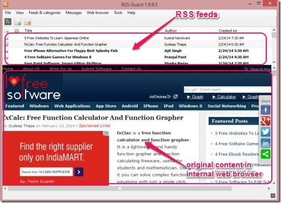RSS Guard - RSS feed and original feed content in inbult web browser
