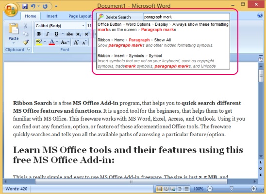 Ribbon Search - searching MS Word feature
