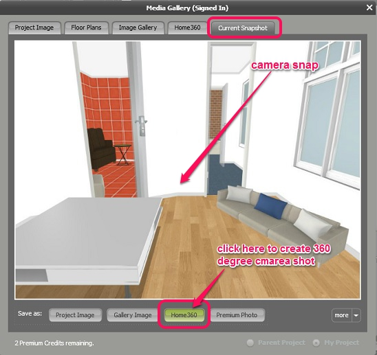 RoomSketcher - creating 360 camera shot