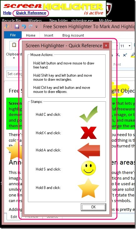 Screen Highlighter - quick reference