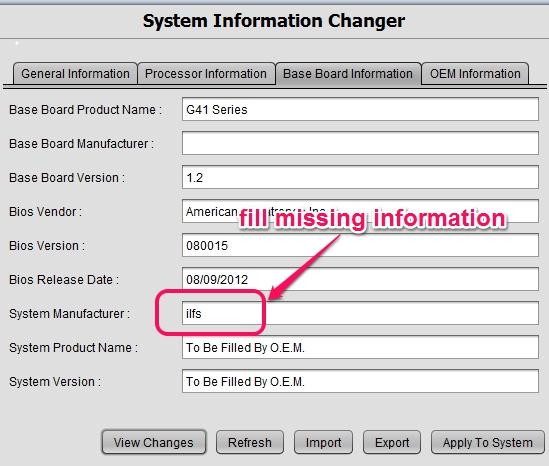 System Information Changer- fill missing details