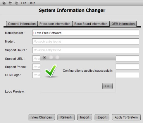 System Information Changer- interface