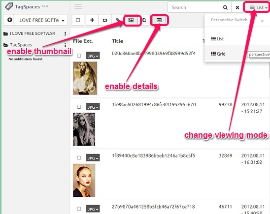 TagSpaces - switching view and enabling thumbnails and details