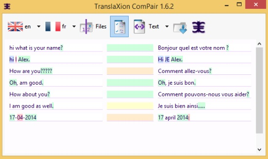 TranslaXion ComPair - comparing texts