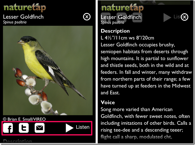 Viewing Information With NatureTap