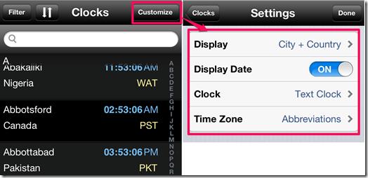 Customizing World Clock Section