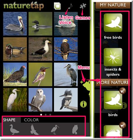 NatureTap Home Screen And Menu Option
