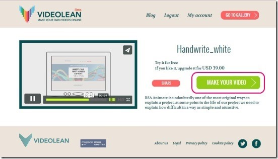 Videolean - previwing template and start creating advertisement