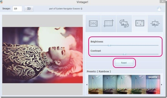 Vintager - color adjustment and reset button