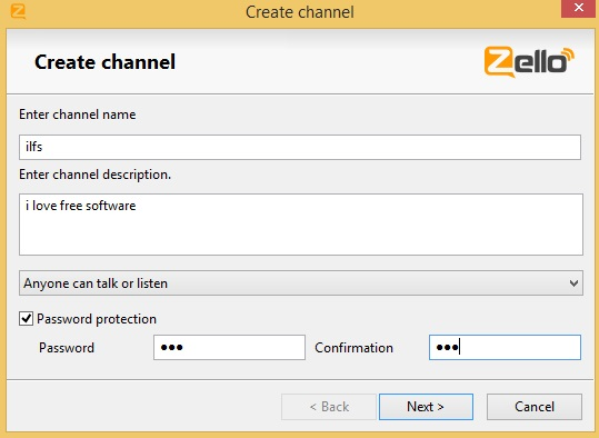 Zello - creating private channel