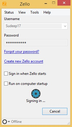 Zello - sign in window