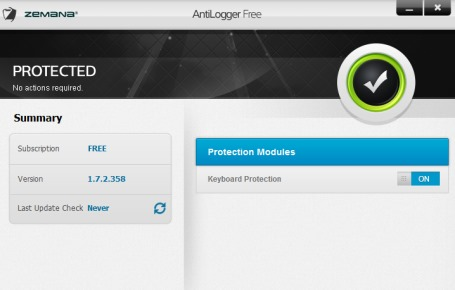 Zemana AntiLogger Free- anti key logger for Windows