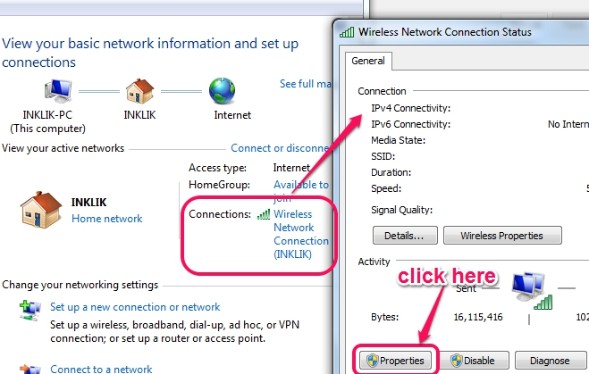 access network connection status window