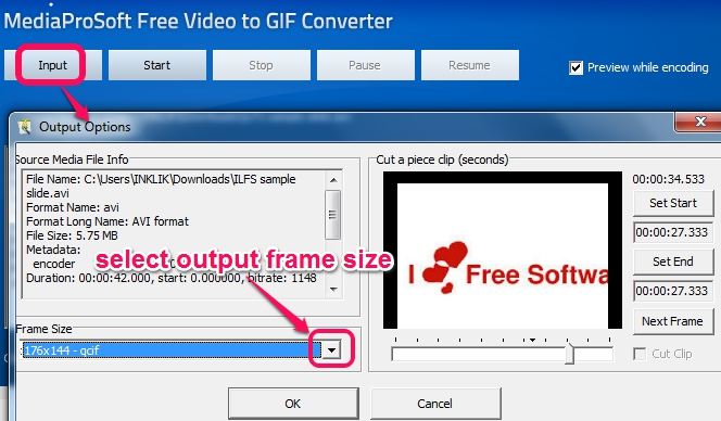 add a video file and set output options