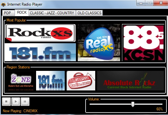 built-in radio player