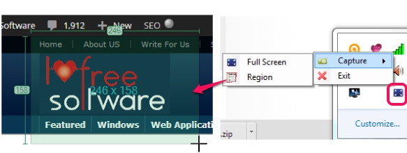 capture screenshot using tray icon