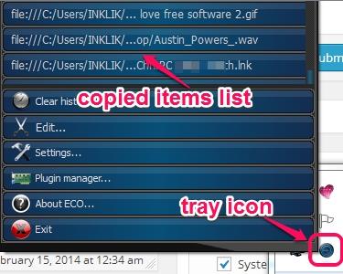 copied items list