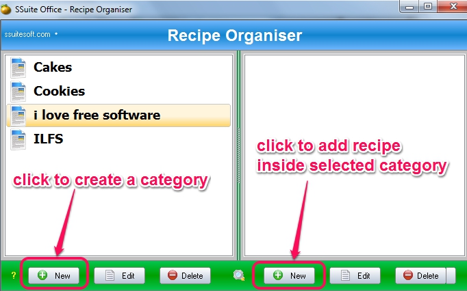create category and add recipe