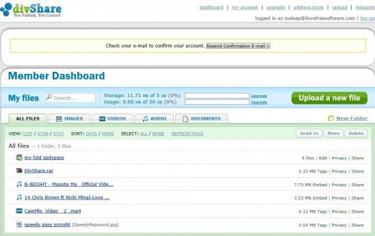 divShare - dashboard