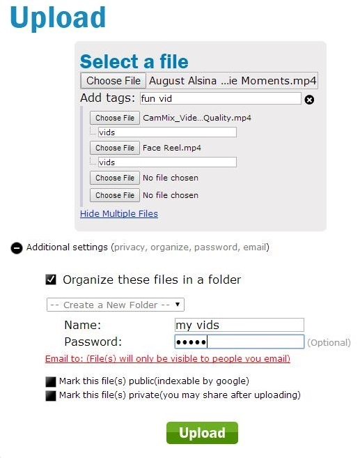 divShare - uploading files with additional settings