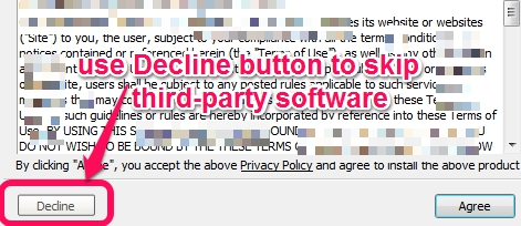 ignore third-party software using decline button