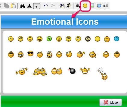 insert emotional icons