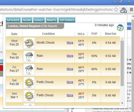 live weather extensions google chrome
