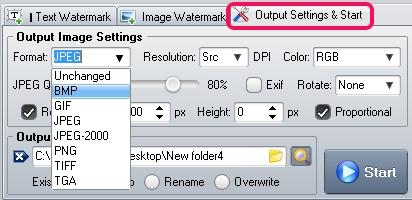 output settings & start option