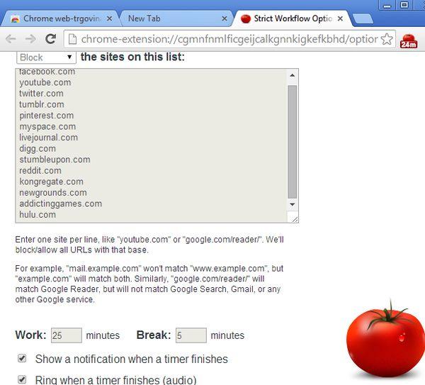 pomodoro timer extensions google chrome
