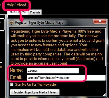 register Tiger Byte Media Player